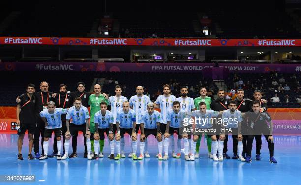 The Argentina team line up for a photo prior to the FIFA Futsal World Cup 2021 Round of 16 match between Argentina and Paraguay at Vilnius Arena on...