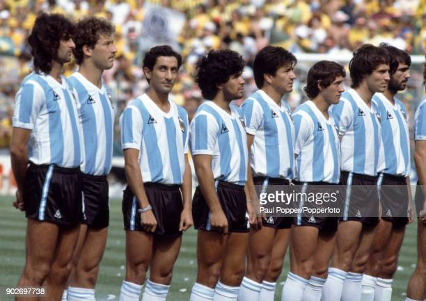 The Argentina team line up for the National Anthems prior to the FIFA World Cup match between Argentina and Brazil at the Estadio Sarria in Barcelona...