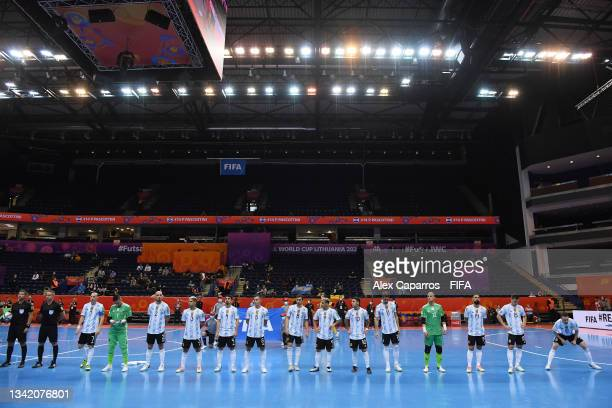 The Argentina team line up prior to the FIFA Futsal World Cup 2021 Round of 16 match between Argentina and Paraguay at Vilnius Arena on September 23,...