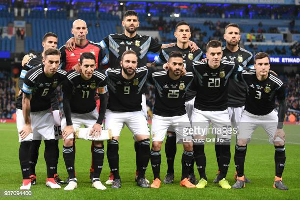 The Argentina team line up prior to the International friendly match between Italy and Argentina at Etihad Stadium on March 23 2018 in Manchester...