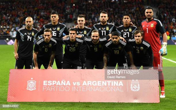 The Argentina team line up prior to the International Friendly between Spain and Argentina on March 27 2018 in Madrid Spain