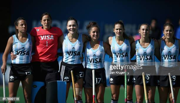 The Argentina team line up prior to the Quarter Final match between Argentina and Ireland during the FIH Hockey World League Women's Semi Finals on...