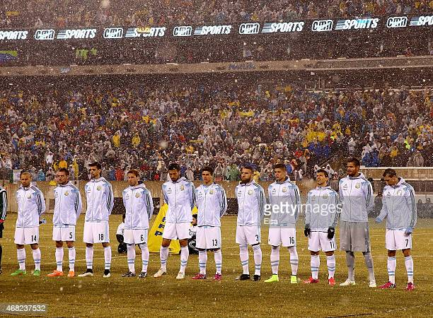 The Argentina team lines up for the national anthem before the game against Ecuador before a friendly match at MetLife Stadium on March 31 2015 in...