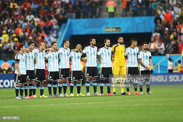 The Argentina team lines up for the national anthem during the 2014 FIFA World Cup Brazil Semi Final match between Netherlands and Argentina at The...