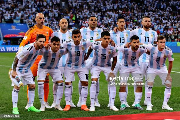 The Argentina team lineup before the 2018 FIFA World Cup Russia group D match between Argentina and Croatia at Nizhny Novgorod Stadium on June 21...