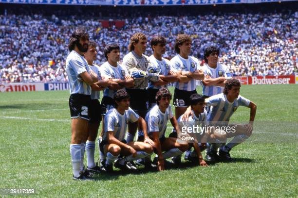 The Argentina team pose for photographers before the FIFA World Cup Final between Argentina and West Germany at the Estadio Azteca, in Mexico City,...
