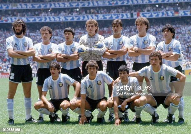 The Argentina team pose for photographers before the FIFA World Cup Final between Argentina and West Germany at the Estadio Azteca in Mexico City...