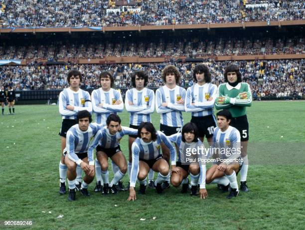 The Argentina team pose for photographers prior to the FIFA World Cup Final between Argentina and Holland at the Estadio Monumental in Buenos Aires...