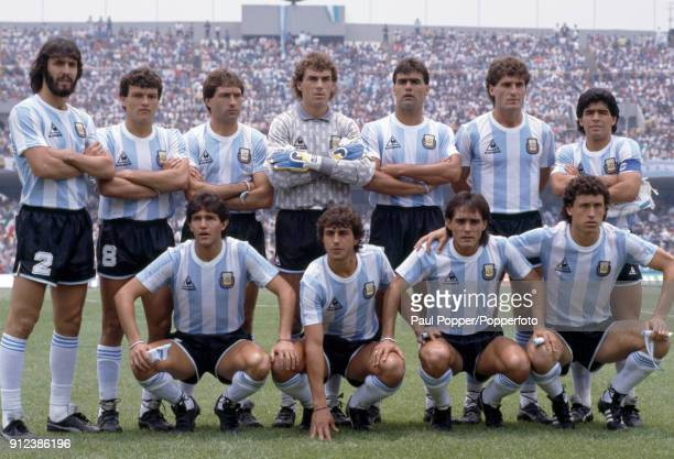 The Argentina team pose for photographers prior to the FIFA World Cup match between Argentina and South Korea at the Estadio Olympico Universitario...