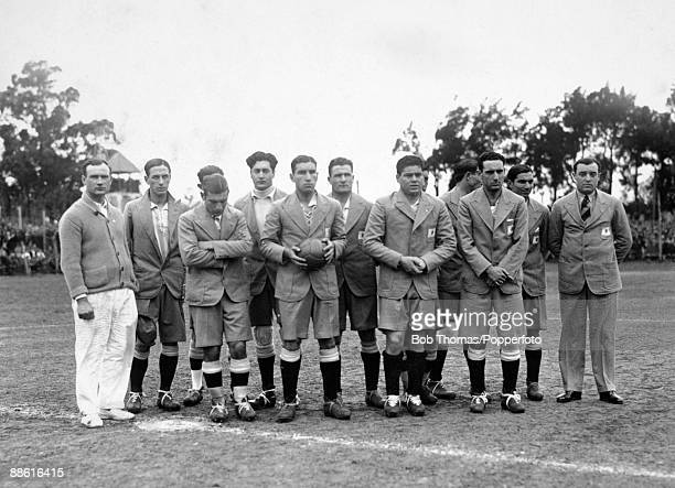 The Argentinan team line up before their first game in the FIFA World Cup Finals against France at Parque Central in Montevideo 15th July 1930...