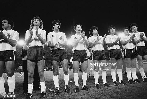 The Argentine football team play the USSR during the Falklands War Buenos Aires Argentina 1982 Among the team is Argentine footballer Diego Maradona