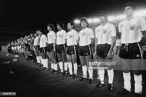 The Argentine football team play the USSR during the Falklands War, Buenos Aires, Argentina, 1982. Among the team is Argentine footballer Diego...