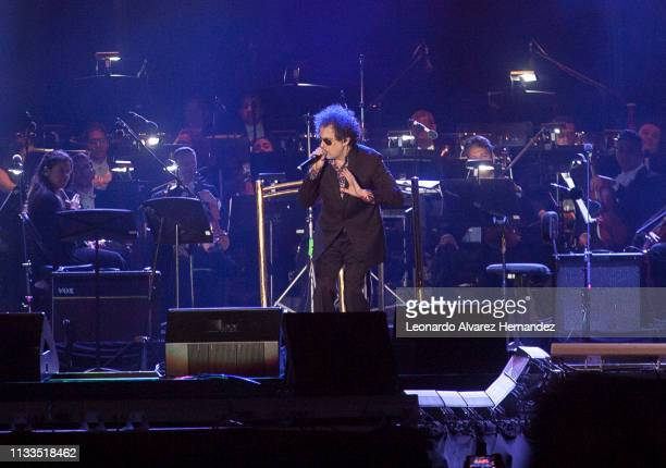 The Argentine musician Andrés Calamaro during 'Placido en el Alma' at 3 de Marzo Stadium on March 3 2019 in Guadalajara Mexico The concert in honor...