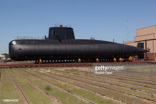 The Argentine navy force repairs submarine ARA San Juan as part of the mid-life upgrade reparation at Tandanor shypyard on December 7, 2013 in Buenos...