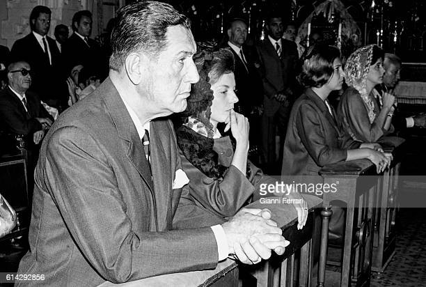 The Argentine politician Juan Domingo Peron and his wife Isabel Martinez at a mass in memory of Eva Peron 25th July 1965 Madrid Spain