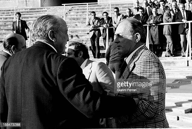 The Argentine soccer player of Real Madrid Alfredo Di Stefano and the President of Real Madrid Santiago Bernabeu on the 75th anniversary of the team...