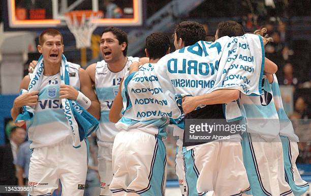 The Argentines celebrate during the FIBA World Championship 2006 quarterfinal game between Argentina and Turkey at the Saitama Super Arena in Tokyo...