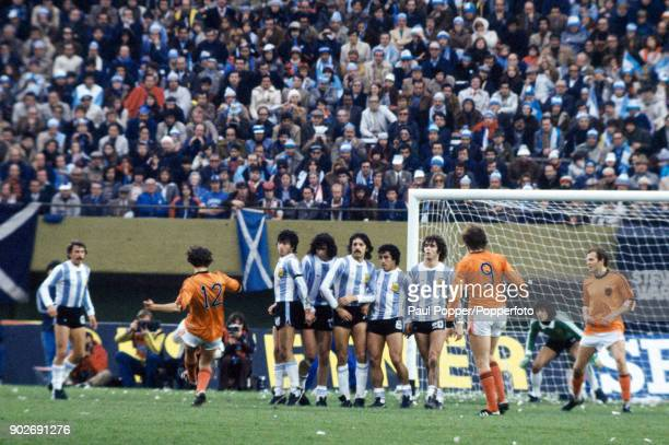 The Argentinian defensive wall faces a freekick taken by Holland's Rob Rensenbrink during the FIFA World Cup Final between Argentina and Holland at...