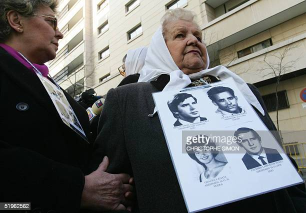 The Argentinian mother of a victim of former Agentine officer Adolfo Scilingo belonging to the association Grandmothers of the May Square stands...