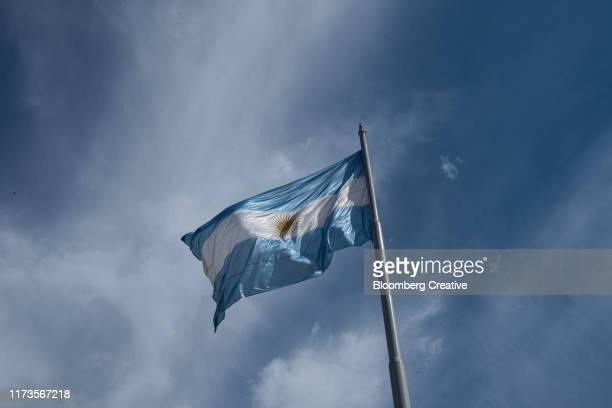 the argentinian national flag - flagpole sitting stock photos and pictures