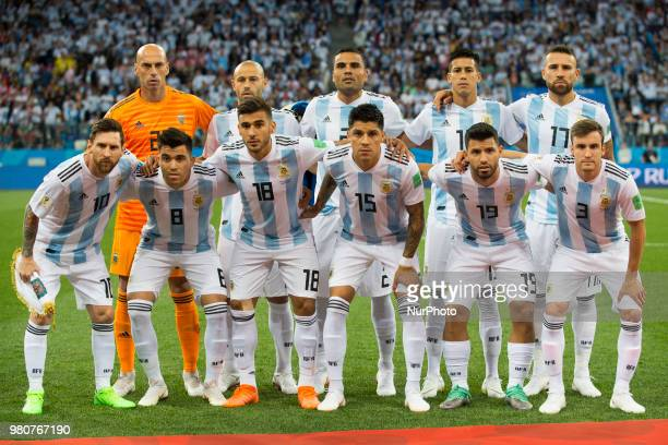 The Argentinian national football team poses for a photo during the FIFA World Cup Group D match between Argentina and Croatia at Nizhny Novogorod...