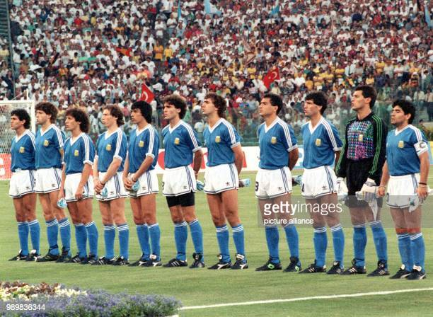 The Argentinian national team is lined up for the presentation of the national anthems prior to the World Cup final against Germany at the Olympic...