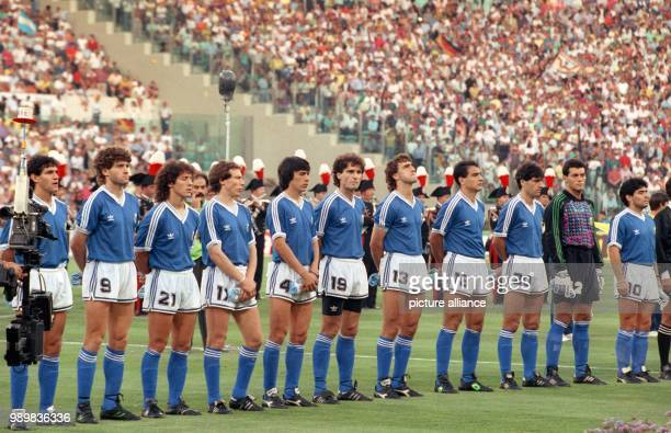 The Argentinian national team lined up for the presentation of the national anthems prior to the World Cup final against Germany at the Olympic...
