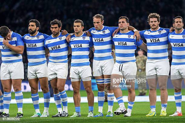 The Argentinian Pumas lineup for the national anthem before the Rugby Championship rugby union test match between Argentian Pumas and Australian...