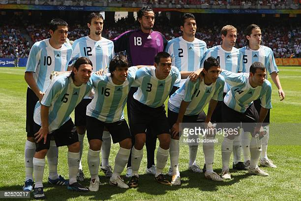 The Argentinian team line up prior to the Men's Gold Medal football match between Nigeria and Argentina at the National Stadium on Day 15 of the...