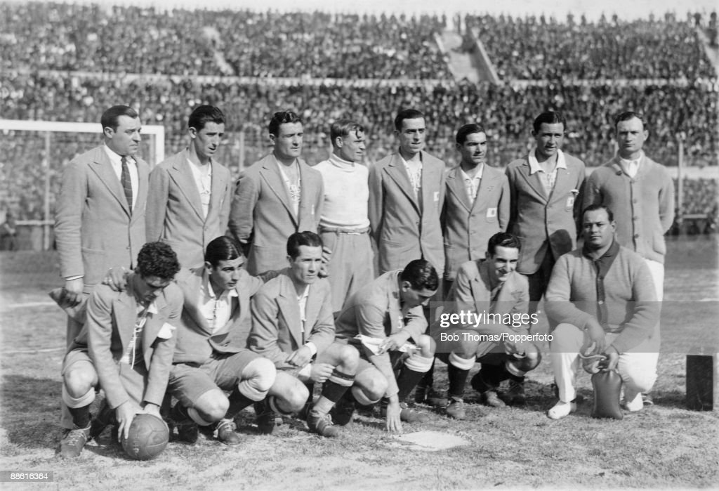 The Argentinian team pictured before the FIFA World Cup Final between Uruguay and Argentina at the Estadio Centenario. Back row (left-right): Francisco Olazar, Juan Evaristo, Luis Monti, Juan Botasso, Fernando Paternoster, Pedro Suarez, Jose Della Torre, Juan Tramutola. Front row: Carlos Peucelle, Francisco Varallo, Guillermo Stabile, Manuel Ferreira, Marino Evaristo and the masseur, name unknown. Uruguay defeated Argentina 4-2 to win the Jules Rimet Trophy.