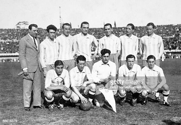The Argentinian team prior to their FIFA World Cup match against Mexico at the Estadio Centenario in Montevideo 19th July 1930 Argentina won 63 Back...