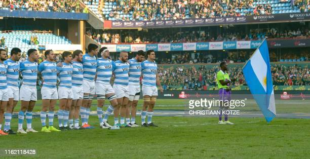 The Argentinian team sings the National anthem during their 2019 Rugby Union World Cup warm-up test match between South Africa against Argentina at...