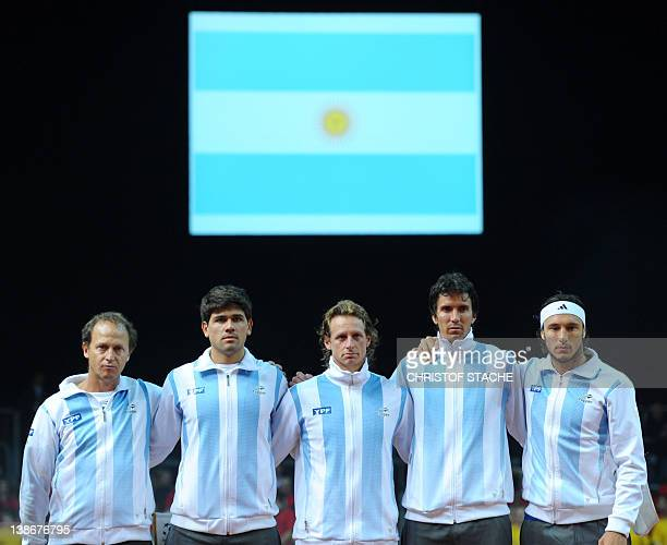 The Argentinian tennis Davis Cup team team captain Martin Jaite Eduardo Schwank David Nalbandian Juan Ignacio Chela and Juan Monaco ahead of the...