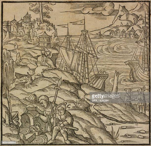The Argonauts using ram skin to catch gold particles present in the sand of a stream myth of the Golden Fleece engraving from De Re Metallica by...