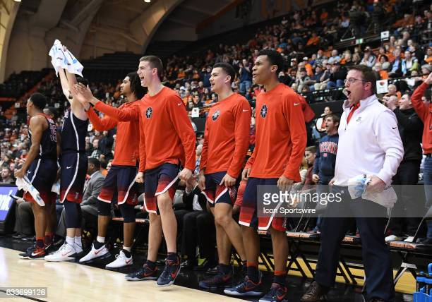 The Arizona bench reacts to a score during a PAC12 Conference basketball game between the Oregon State Beavers and Arizona Wildcats on February 2 at...