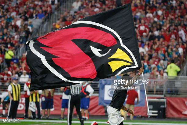 The Arizona Cardinals logo flag during the NFL football game between the Jacksonville Jaguars and the Arizona Cardinals on November 26 2017 at...
