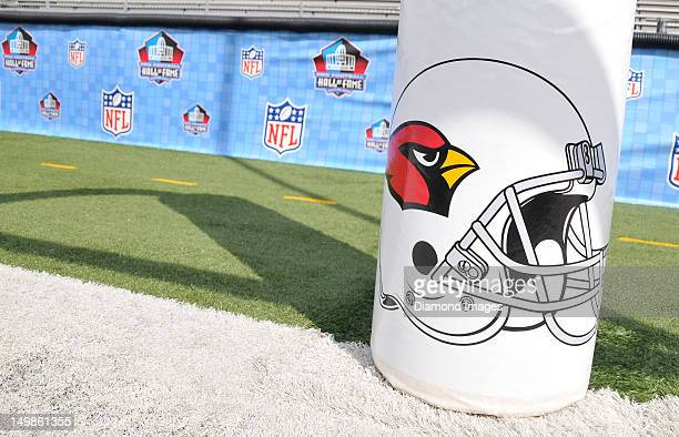 The Arizona Cardinals logo on the upright pad before the 2012 Hall of Fame Game between the Arizona Cardinals and the New Orleans Saints on August 5...