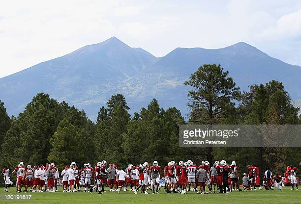 The Arizona Cardinals practice with the San Francisco Peaks behind them in the team training camp at Northern Arizona University on July 31 2011 in...