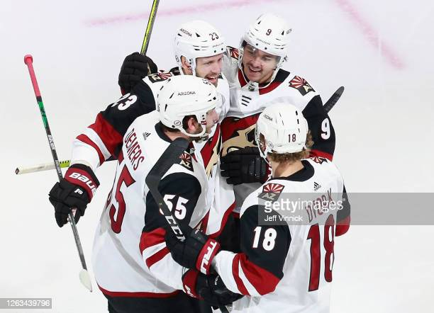 The Arizona Coyotes celebrate a goal by Oliver EkmanLarsson against the Nashville Predators at 951 of the first period in Game One of the Western...