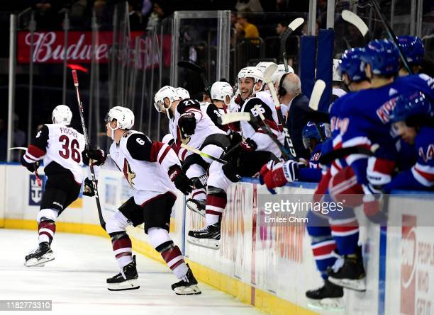 The Arizona Coyotes celebrate after Christian Dvorak scores the game winning over time goal during their game against the New York Rangers at Madison...
