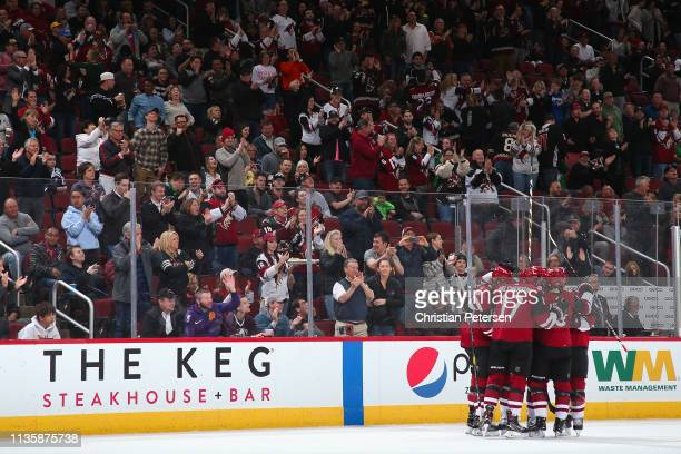 The Arizona Coyotes celebrate after Jason Demers scored a goal against the Anaheim Ducks during the first period of the NHL game at Gila River Arena...