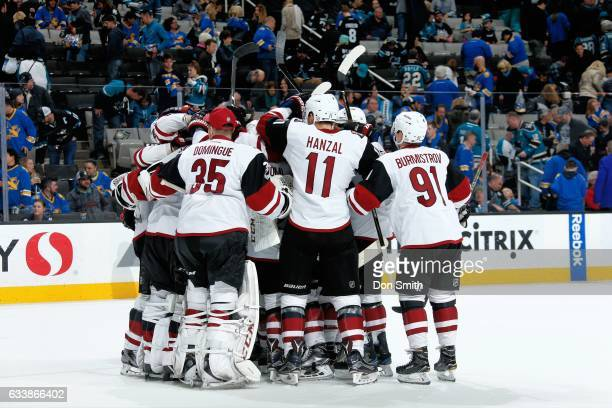 The Arizona Coyotes celebrate their 32 shoot out win over the San Jose Sharks at SAP Center at San Jose on February 4 2017 in San Jose California