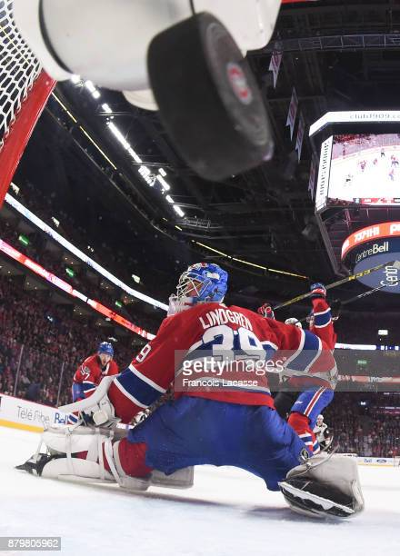 The Arizona Coyotes score a goal against Charlie Lindgren of the Montreal Canadiens in the NHL game at the Bell Centre on November 16 2017 in...