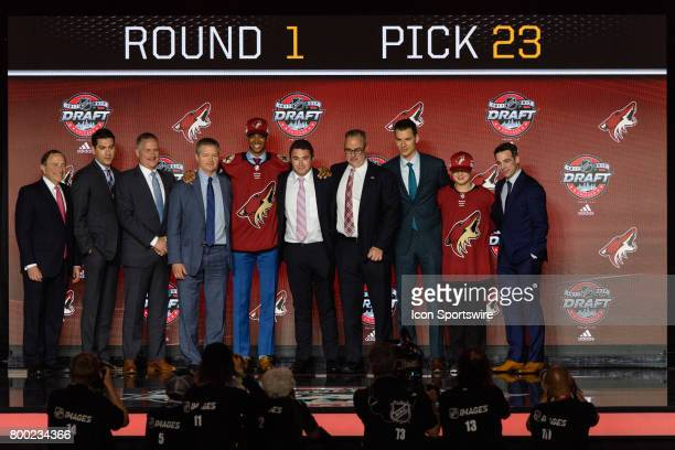 The Arizona Coyotes select defenseman PierreOlivier Joseph with the 23rd pick in the first round of the 2017 NHL Draft on June 23 at the United...