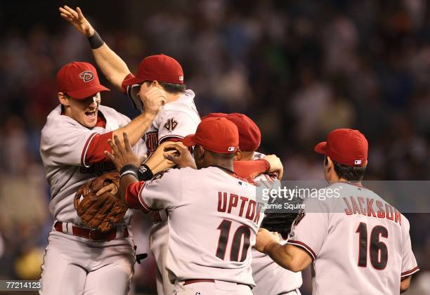The Arizona Diamondbacks celebrate their 51 win to win the series 30 over the Chicago Cubs during Game Three of the National League Divisional Series...