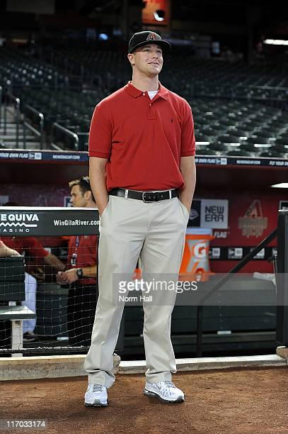 The Arizona Diamondbacks first pick in this years draft Archie Bradley from Broken Arrow Oklahoma had the chance to walk on the field during batting...