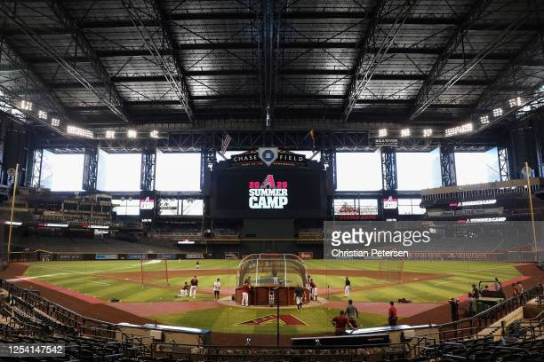 The Arizona Diamondbacks take batting practice as they participate in summer workouts ahead of the abbreviated MLB season at Chase Field on July 03,...