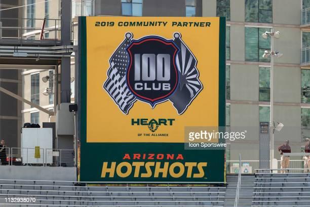 The Arizona Hotshots 100 club logo during the AAF football game between the San Diego Fleet and the Arizona Hotshots on March 24 2019 at Sun Devil...