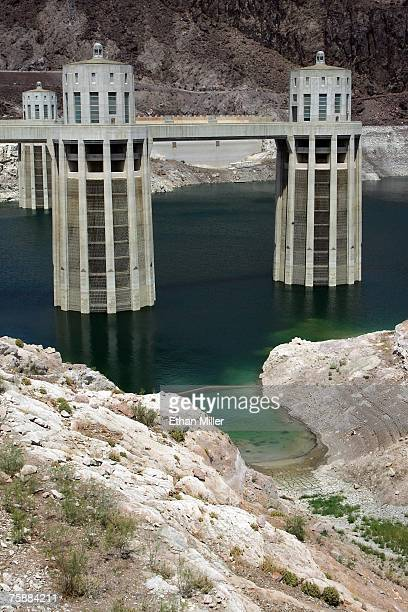 The Arizona Intake Towers at the Hoover Dam July 30 2007 in the Lake Mead National Recreation Area Arizona A sevenyear drought and increased water...