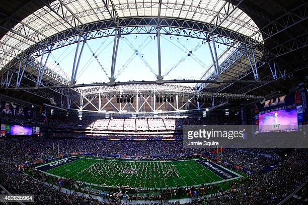 The Arizona State Marching Band performs prior to Super Bowl XLIX between the Seattle Seahawks and the New England Patriots at University of Phoenix...